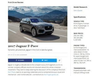 Jaguar F-Pace Car and Driver