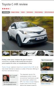 Toyota C-HR, Autocar