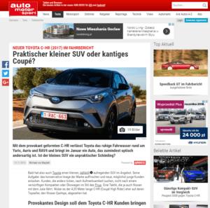 Toyota C-HR, Auto, motor und sport