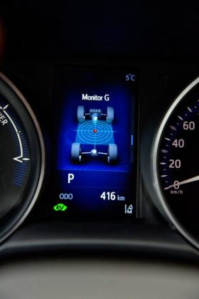Toyota C-HR - wyświetlacz środkowy, wskaźnik przeciążeń