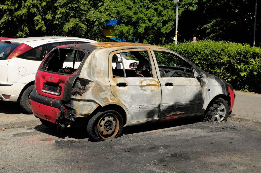 Pożar pojazdu w wyniku samozapłonu