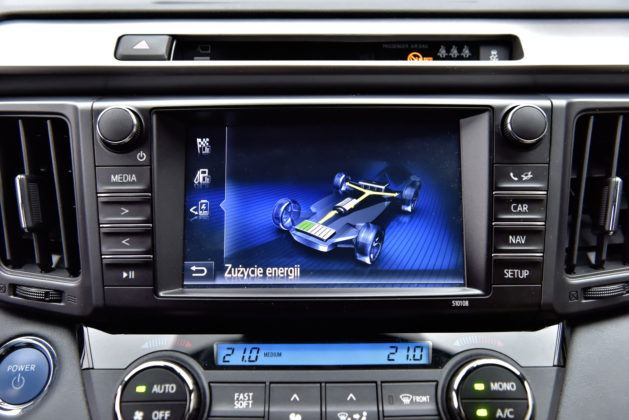 Toyota RAV4 Hybrid - ekran stanu napędu