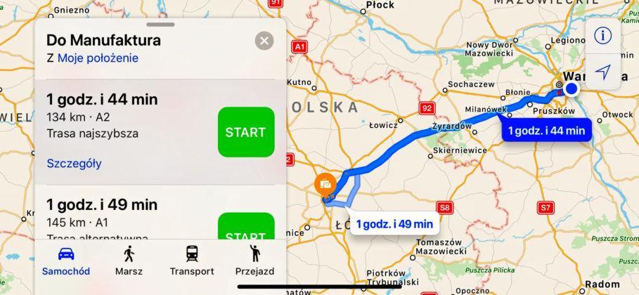Mapy Apple - screenshot