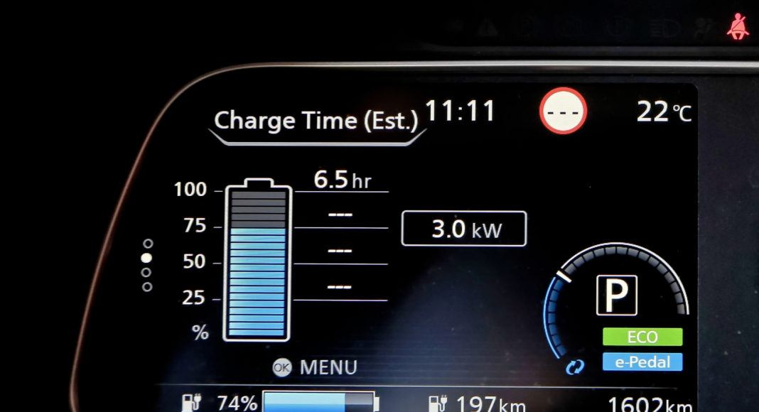 Nissan Leaf - wskazania wyświetlacza