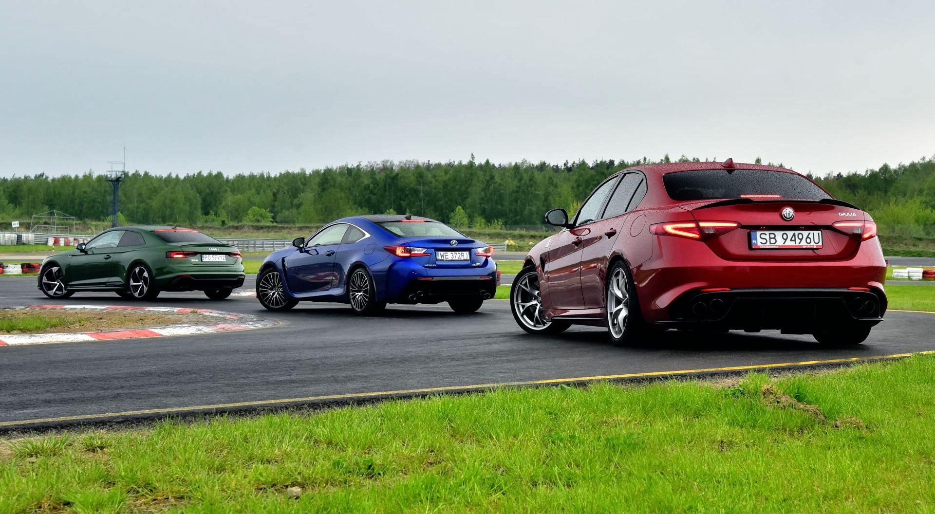 Porównanie Alfa Romeo Giulia, Audi RS 5, Lexus RC F - otwierające