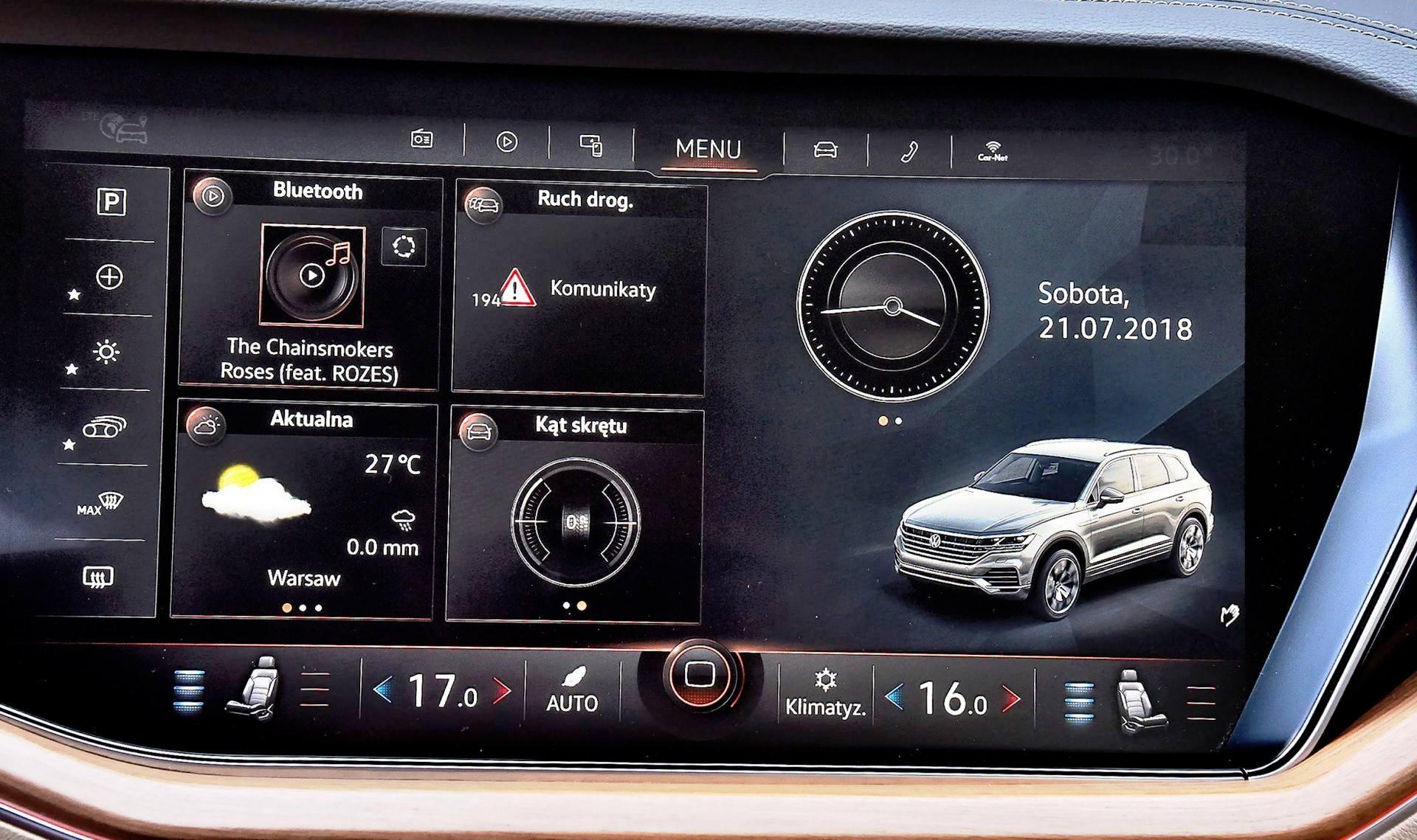 Volkswagen Touareg - środkowy ekran