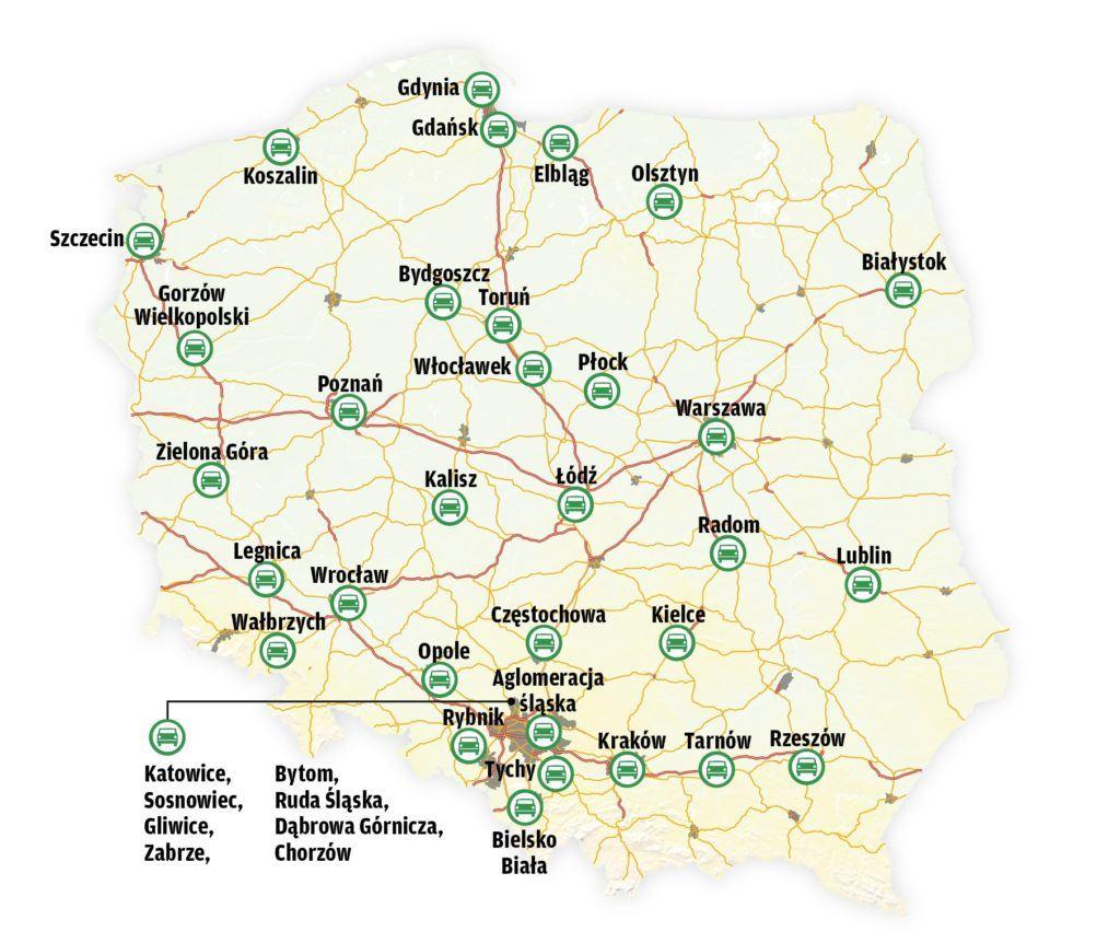 Mapa polskich większych miast
