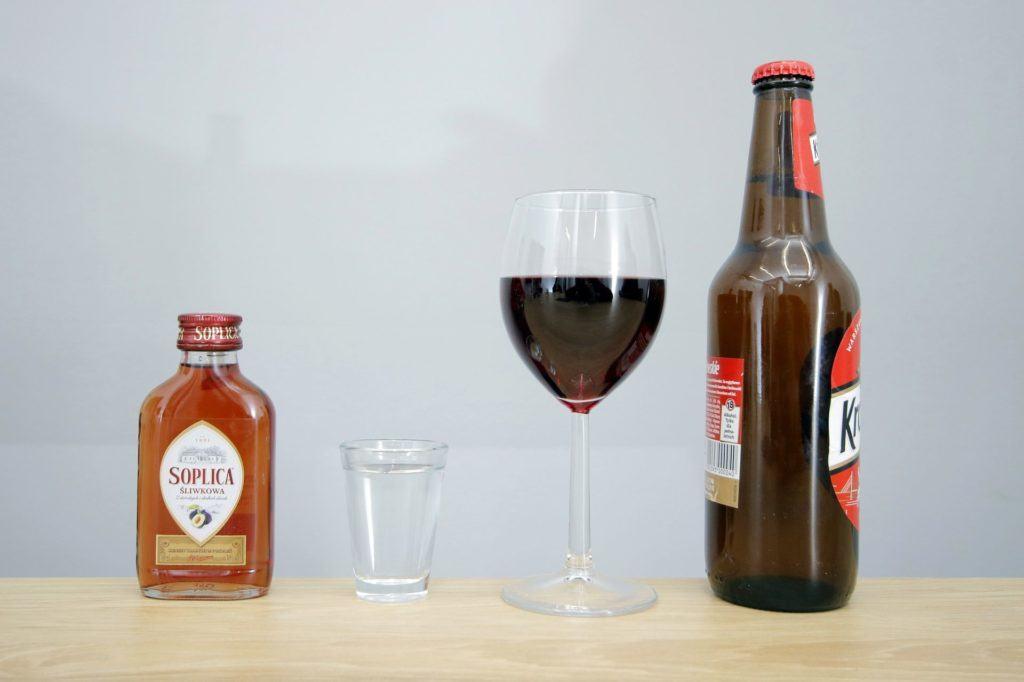 Po jakim czasie można prowadzić - niewielka ilość alkoholu - otwierające - alkohole