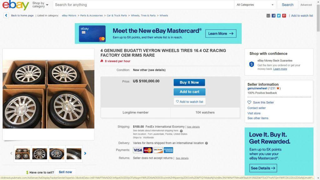 Używane koła do Bugatti Veyrona za 100 tys. dol. - aukcja eBay