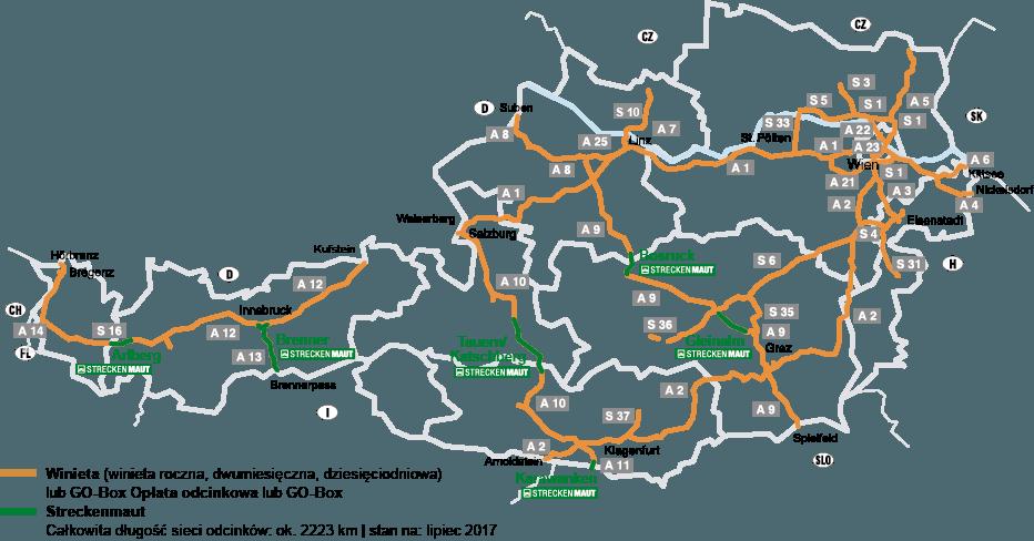 Austria - mapa platnych drog gdzie wymagane sa winiety