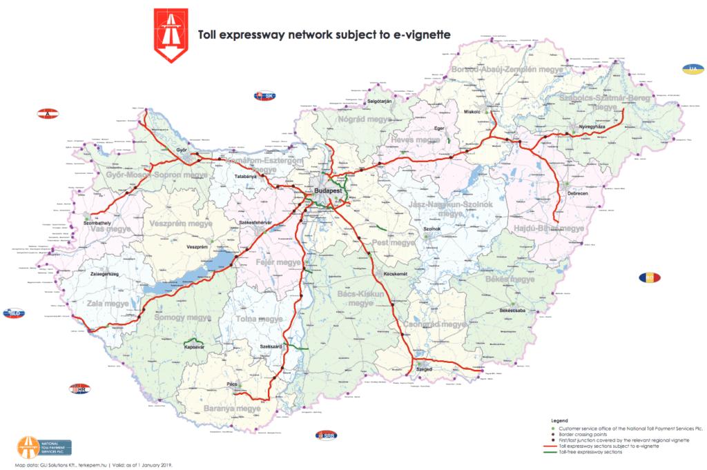 Winiety na Węgrzech - mapa płatnych dróg