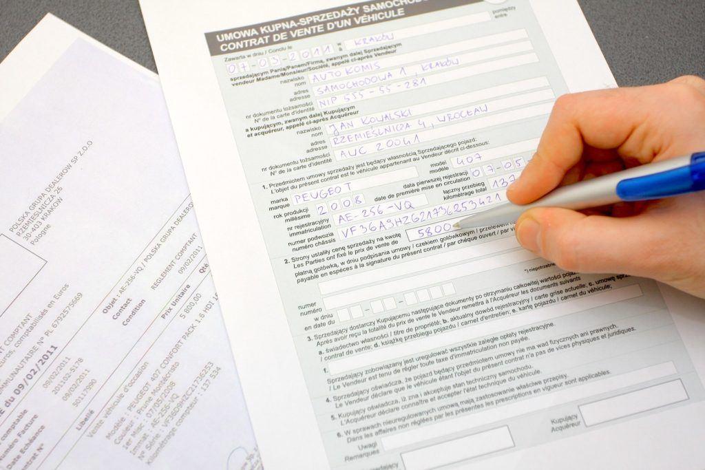 Ciaglosc umow - rejestracja pojazdu