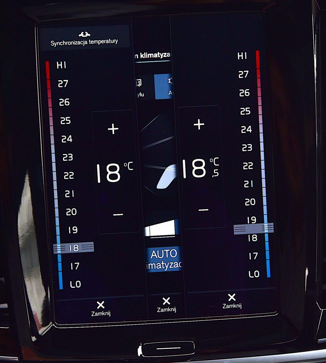 Volvo XC90 - ustawienia klimatyzacji