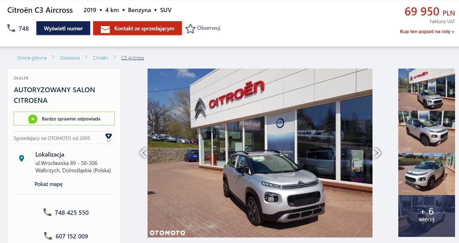 Oferta sprzedaży: Citroen C3 Aircross, źródło: OtoMoto