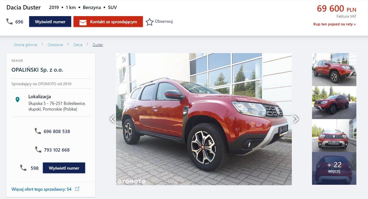 Oferta sprzedaży: Dacia Duster, źródło: OtoMoto