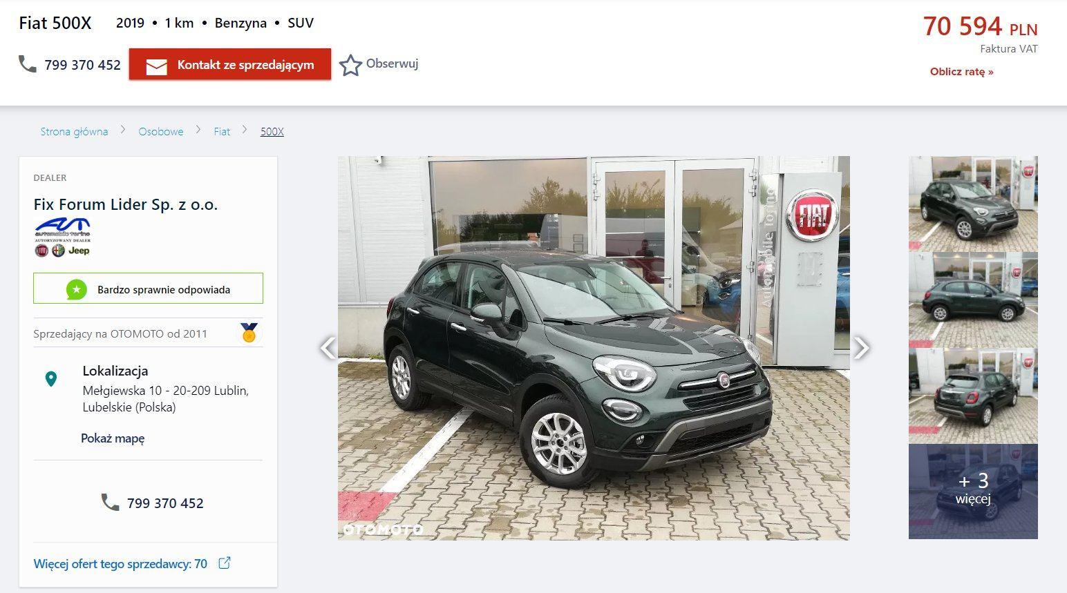 Oferta sprzedaży: Fiat 500X, źródło: OtoMoto