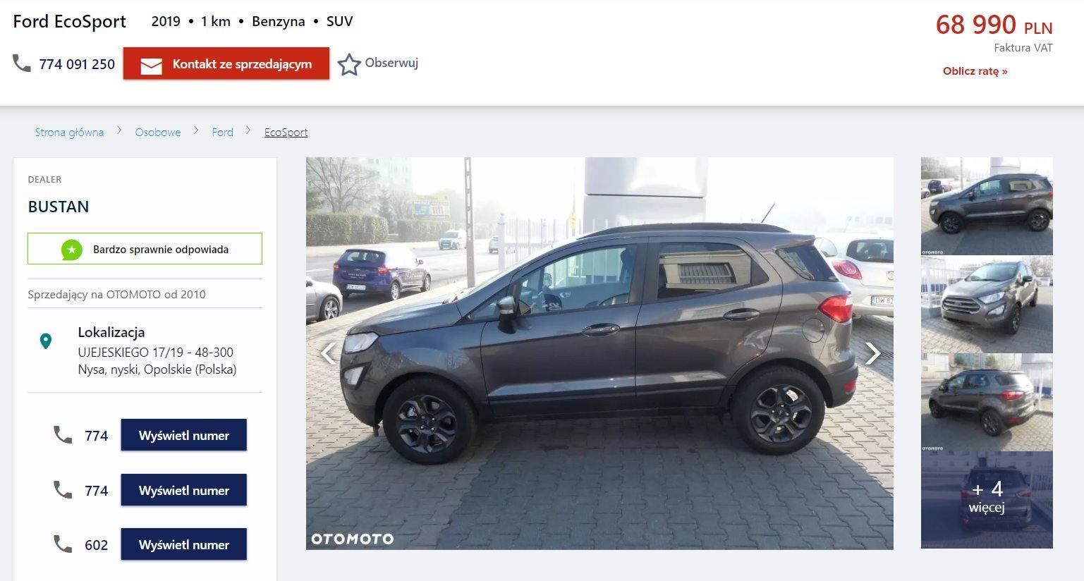 Oferta sprzedaży: Ford EcoSport, źródło: OtoMoto