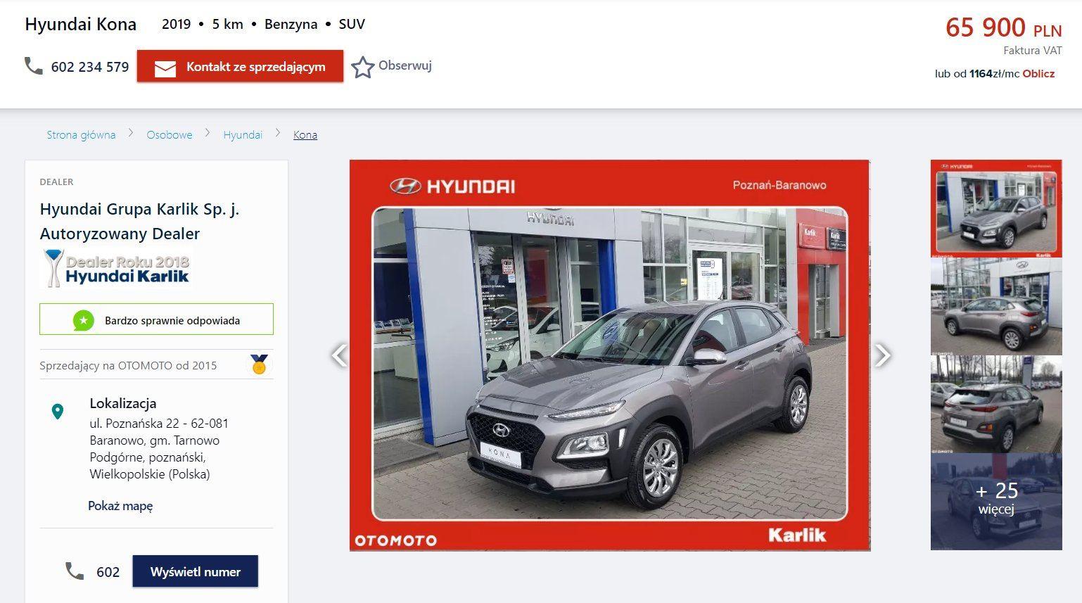 Oferta sprzedaży: Hyundai Kona, źródło: OtoMoto