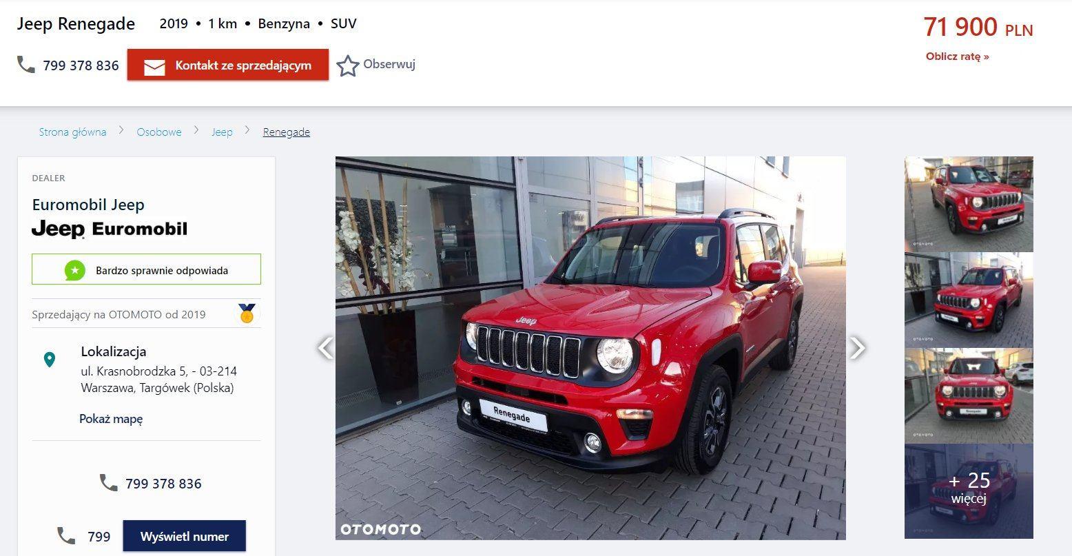 Oferta sprzedaży: Jeep Renegade, źródło: OtoMoto