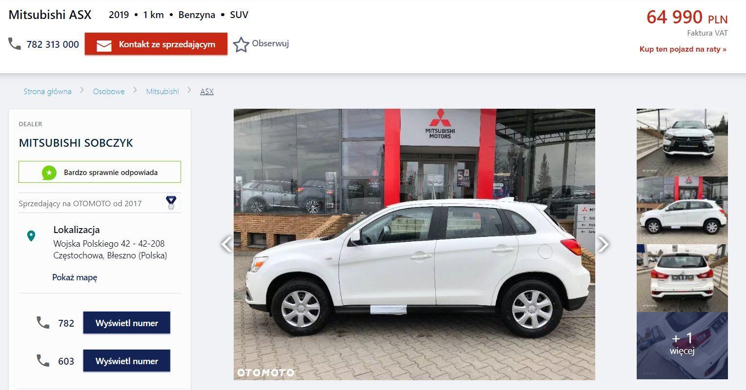 Oferta sprzedaży: Mitsubishi ASX, źródło: OtoMoto