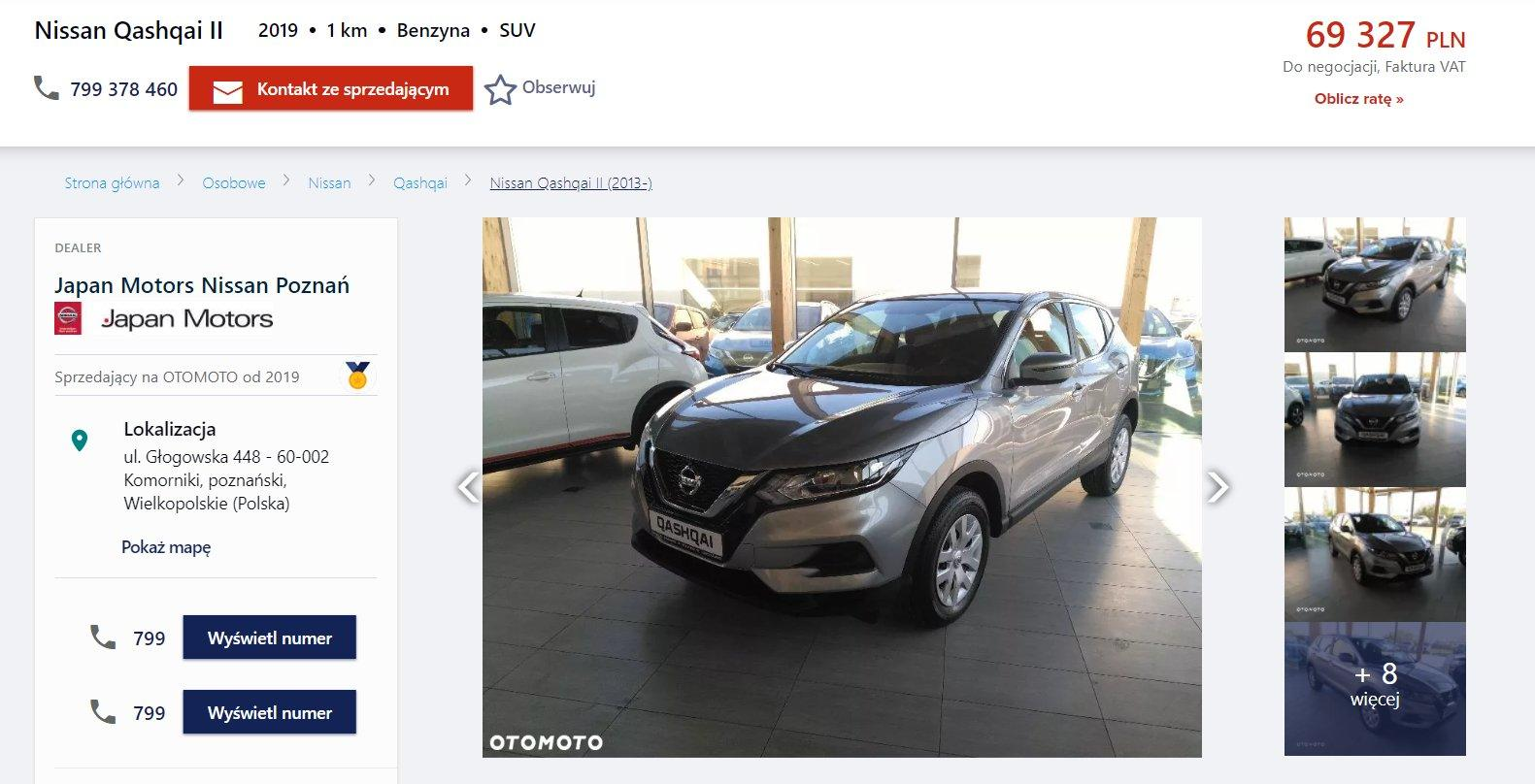 Oferta sprzedaży: Nissan Qashqai, źródło: OtoMoto