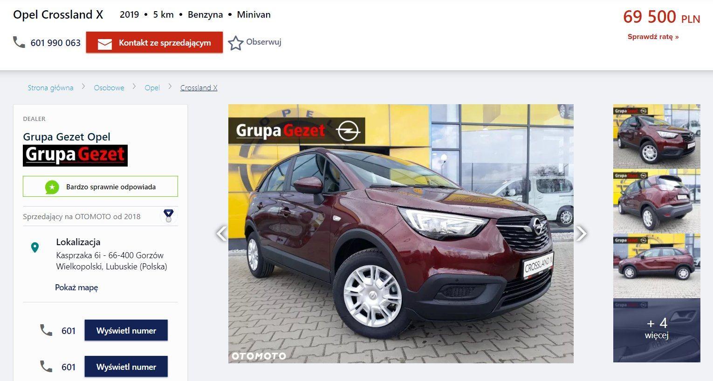 Oferta sprzedaży: Opel Crossland X, źródło: OtoMoto