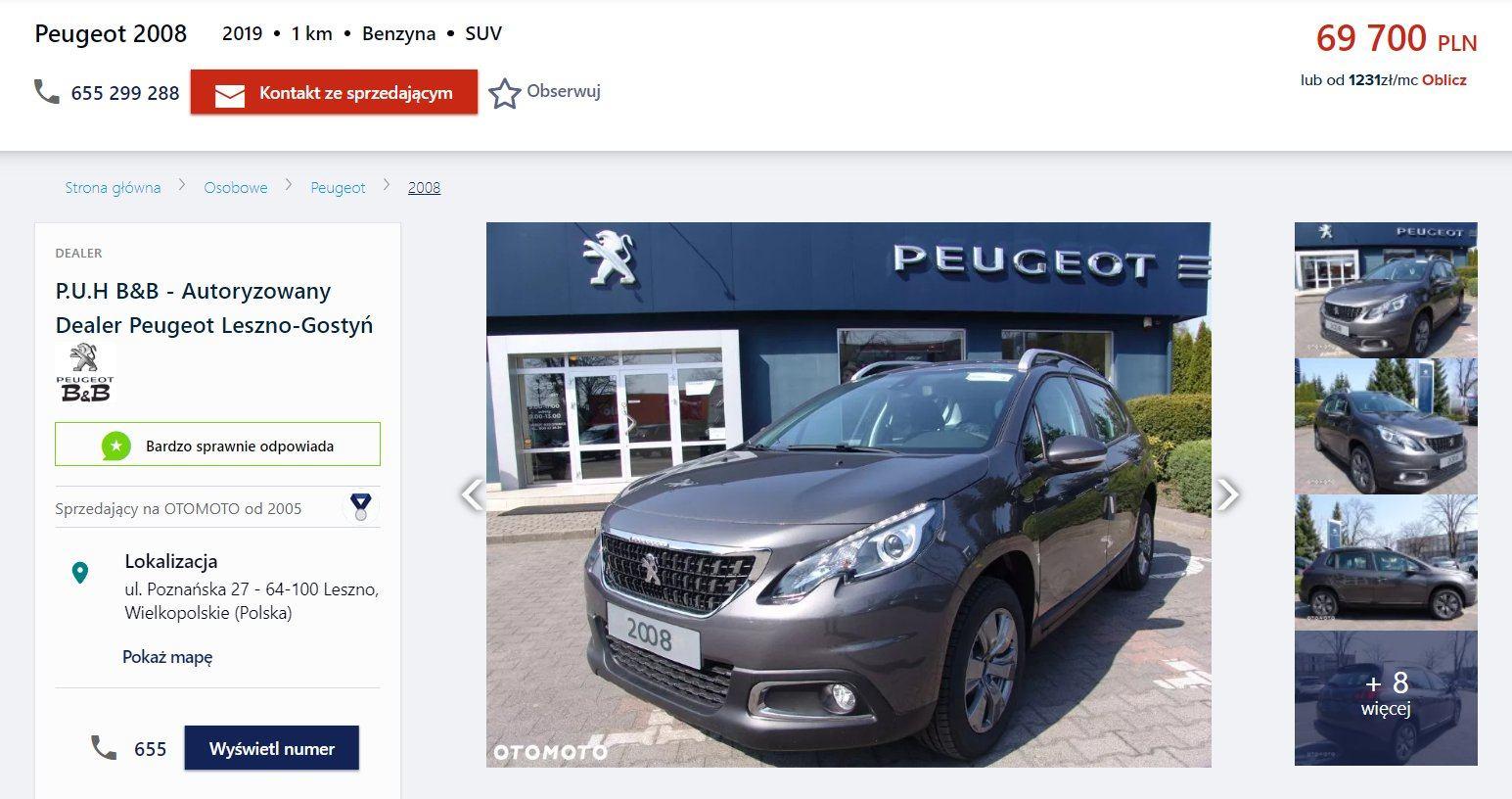 Oferta sprzedaży: Peugeot 2008, źródło: OtoMoto