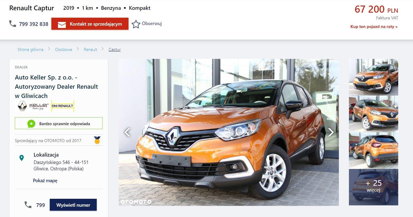 Oferta sprzedaży: Renault Captur, źródło: OtoMoto