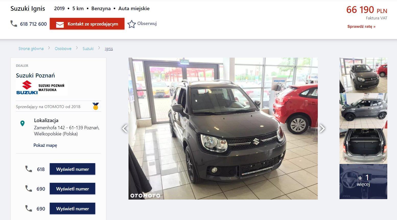 Oferta sprzedaży: Suzuki Ignis, źródło: OtoMoto