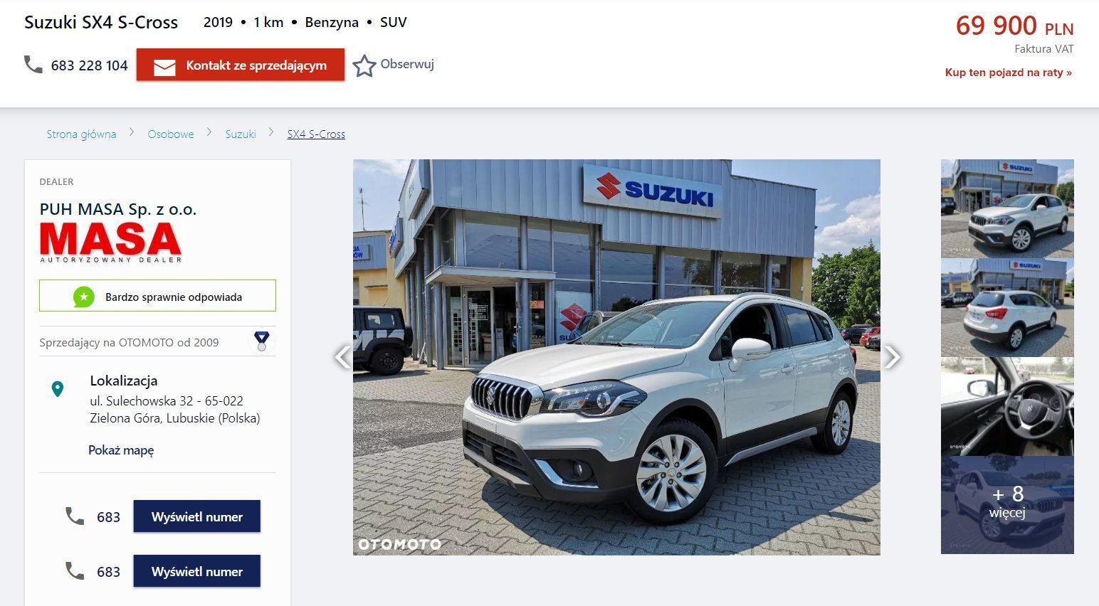 Oferta sprzedaży: Suzuki SX4 S-Cross, źródło: OtoMoto