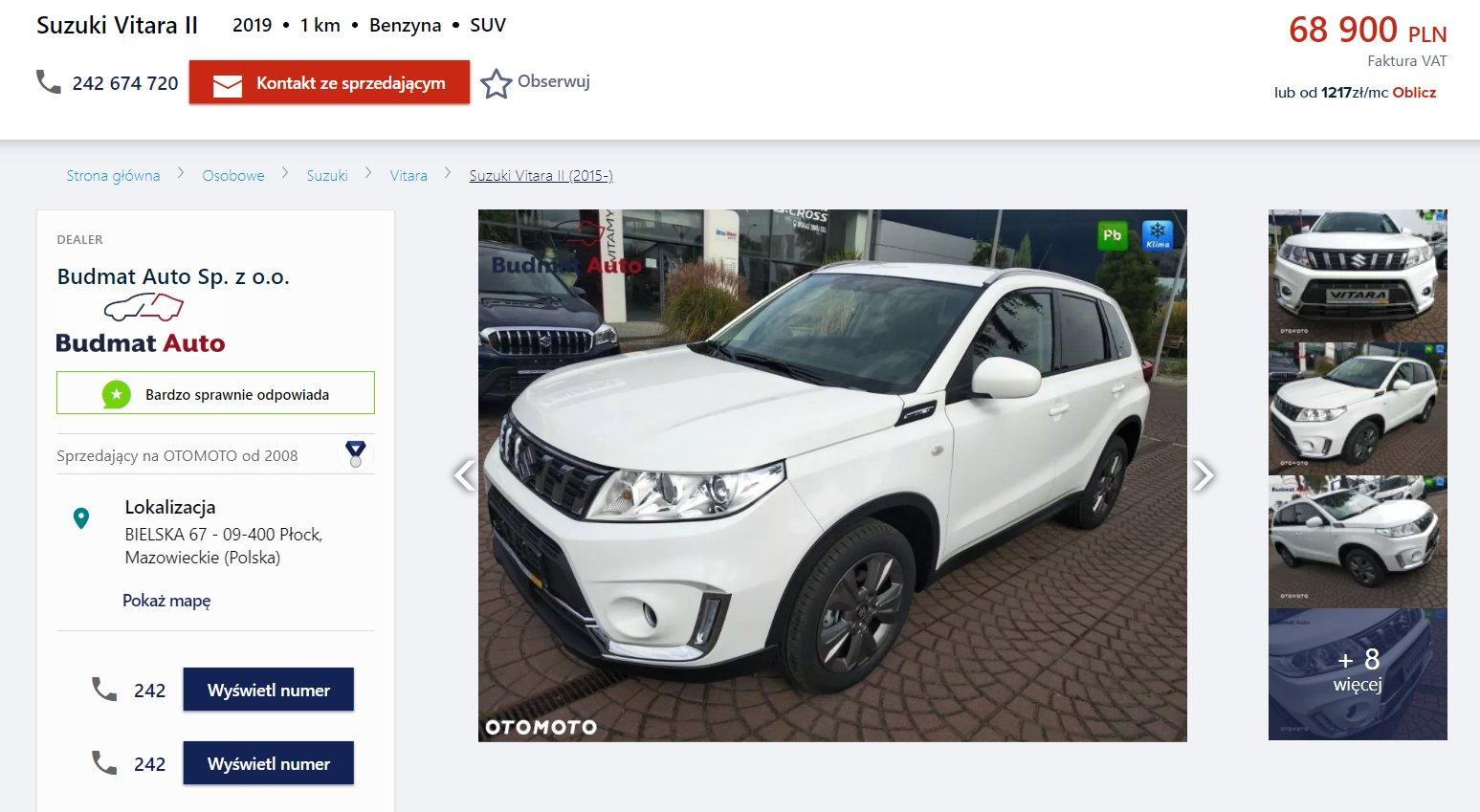 Oferta sprzedaży: Suzuki Vitara, źródło: OtoMoto