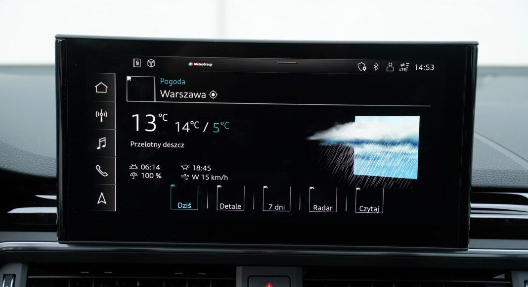 Audi A4 allroad 45 TFSI quattro S tronic - dostęp do internetu zapewnia m.in. dostęp do aktualnej prognozy pogody