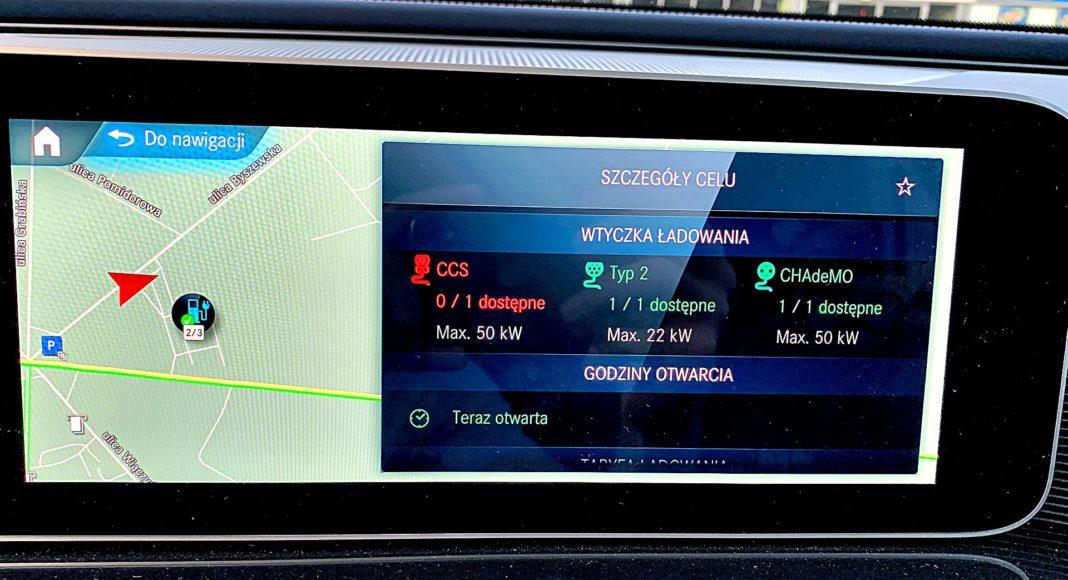 Mercedes EQC 400 4Matic – nawigacja ładowarki