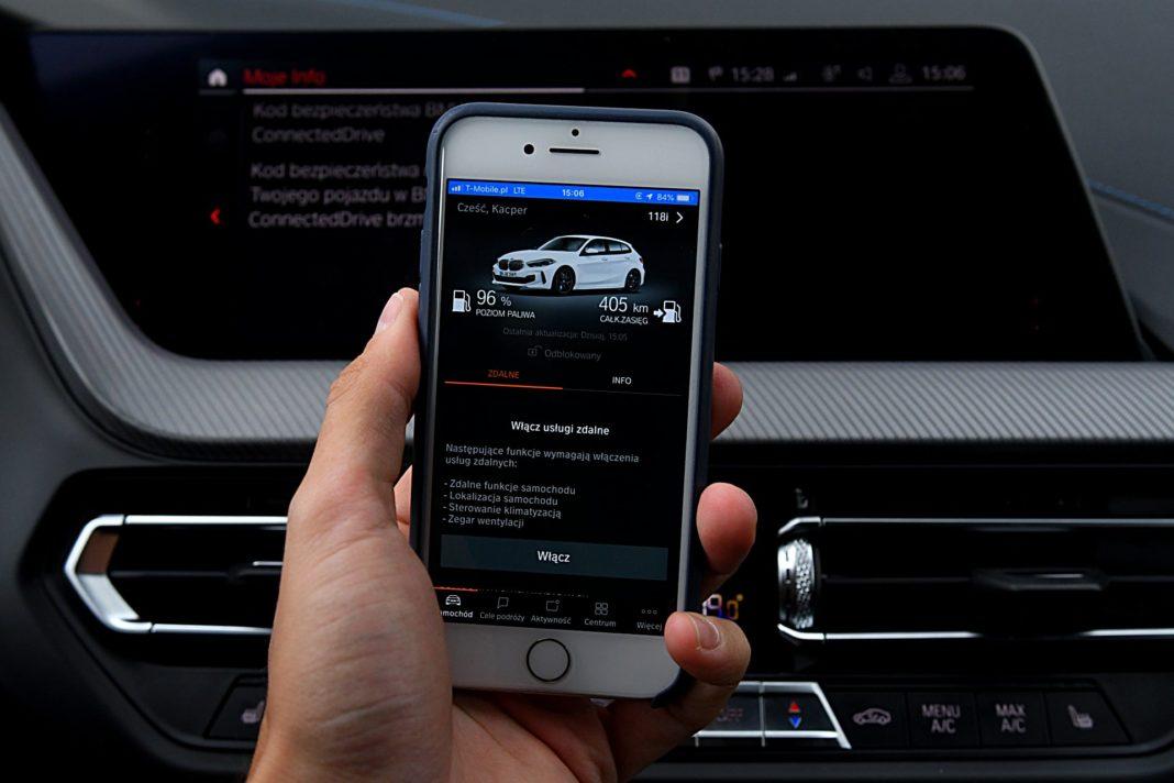 BMW 118i F40 sterowanie smartfonem