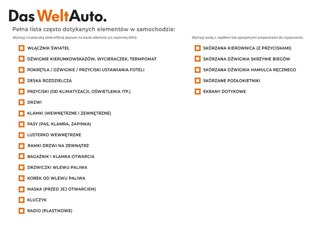 Dezynfekcja auta - lista
