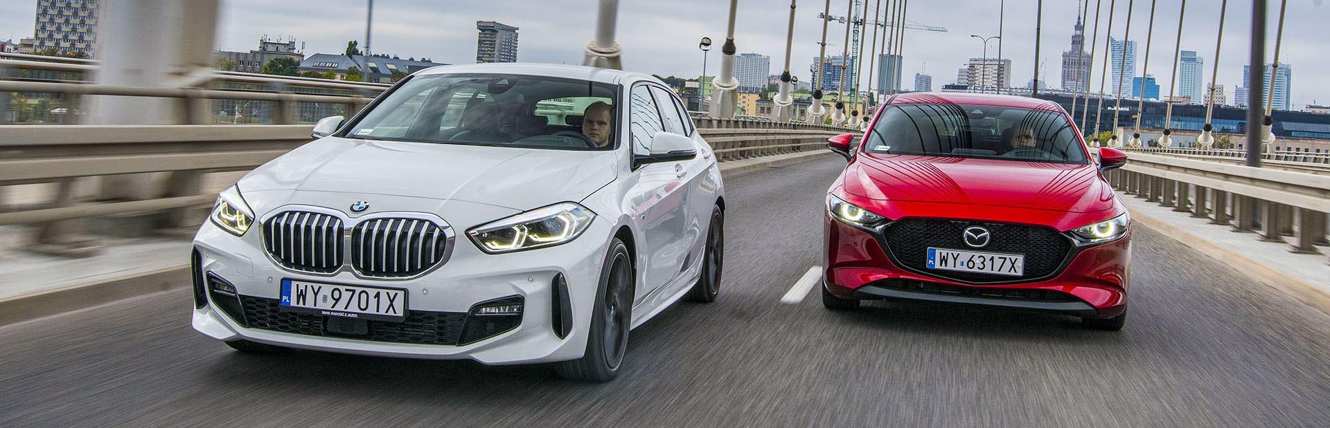 BMW serii 1, Mazda 3 - przody – PORÓWNANIE BMW 118i, Mazda 3 – opinie, spalanie, wymiary, dane techniczne