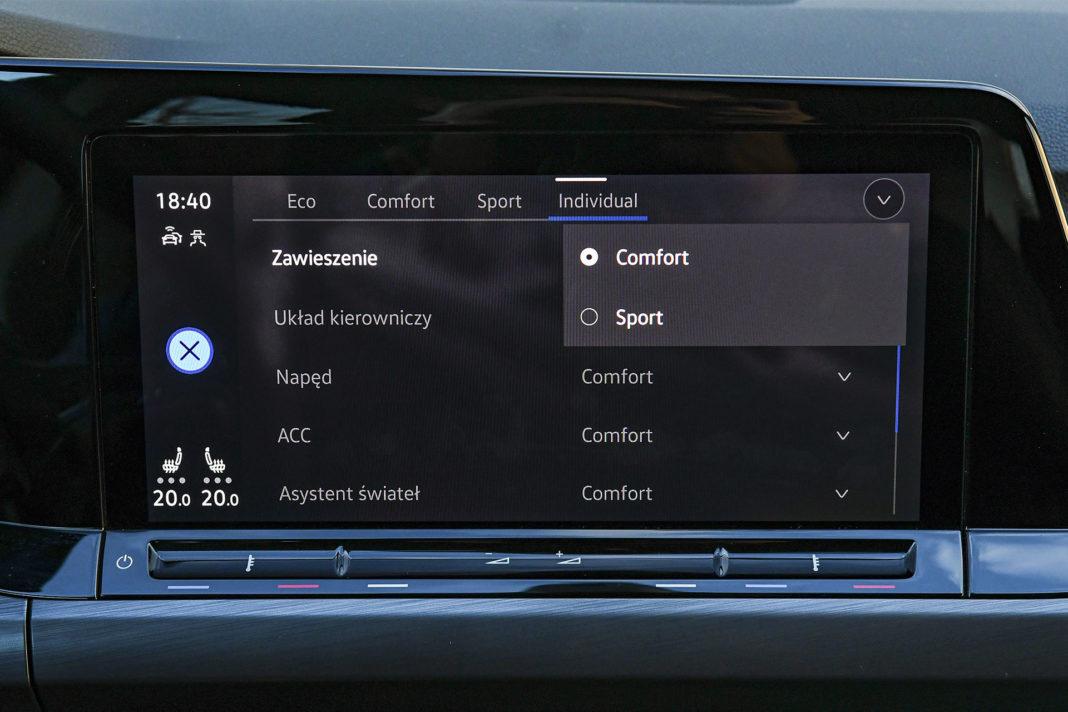 Volkswagen Golf 1.5 eTSI EVO DSG Style - ustawienia zawieszenia