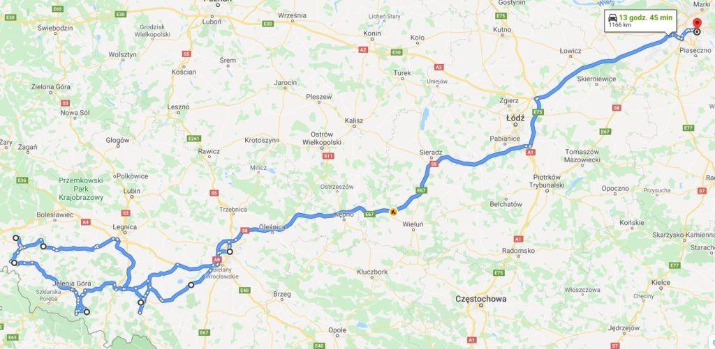 Mapa wyjazdu Koną