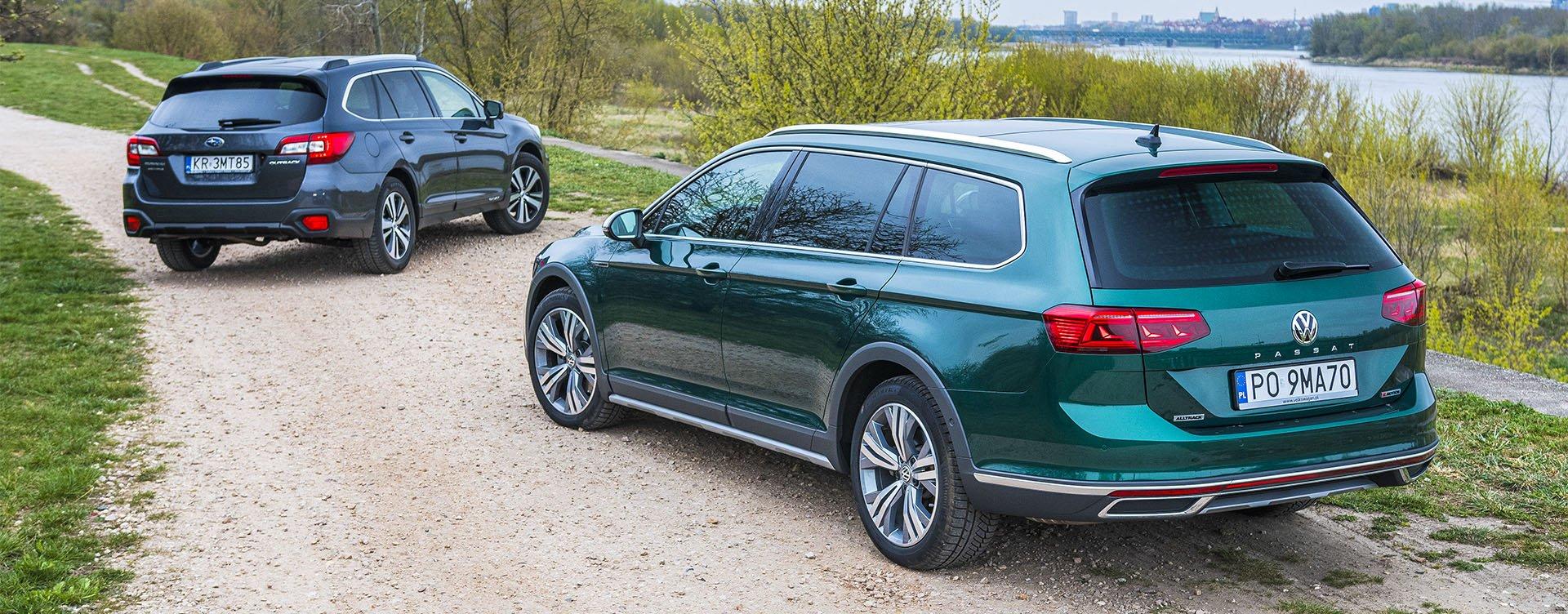 Subaru Outback, Volkswagen Passat Alltrack - widok z tyłu
