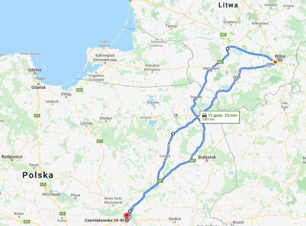 Mapa wyjazdu na Litwę