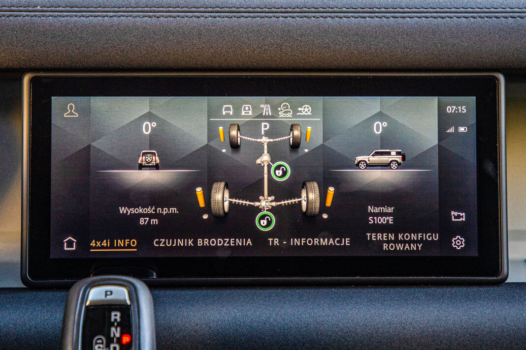 Land Rover Defender - ekran centralny