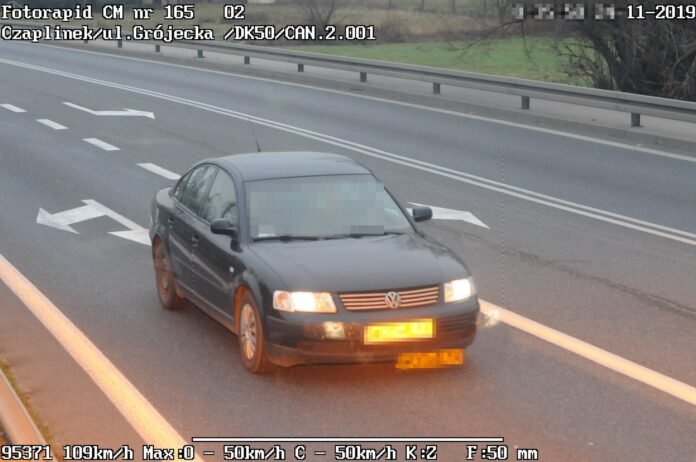 Przekroczenie prędkości w miejscowości Czaplinek