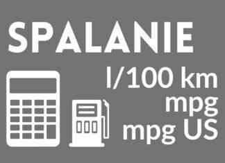 Kalkulator zużycia paliwa (l/100km, mpg)