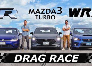 Mazda 3 Turbo kontra Subaru WRX i VW Golf R – test