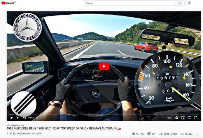 Mercedes 190D na autostradzie