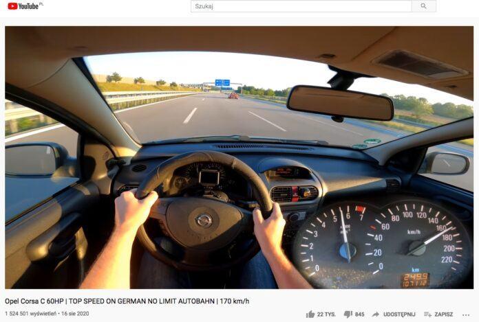 Opel Corsa C na autostradzie