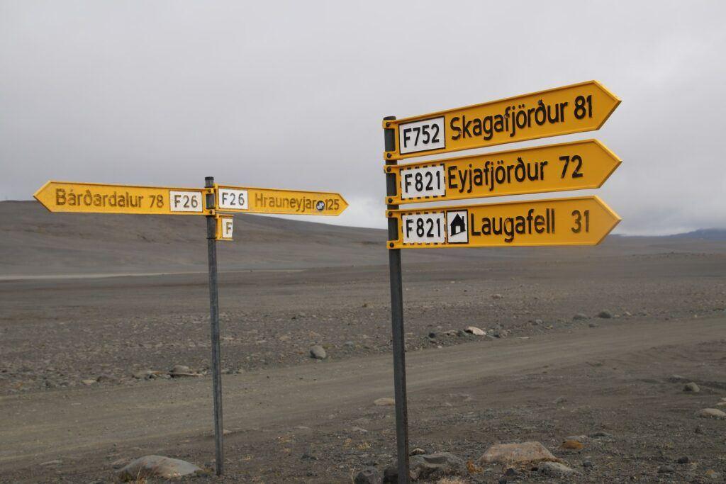 Drogowskazy na Islandii - droga F26