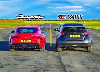 Toyota GR Yaris kontra Toyota GR Supra w wyścigu na 1/4 mili