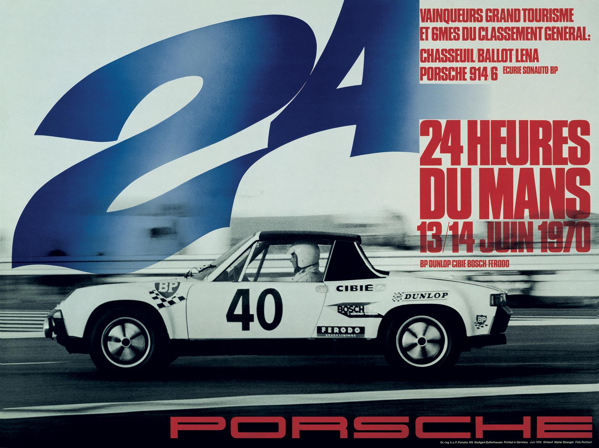 Plakat Porsche 24h LeMans 1970