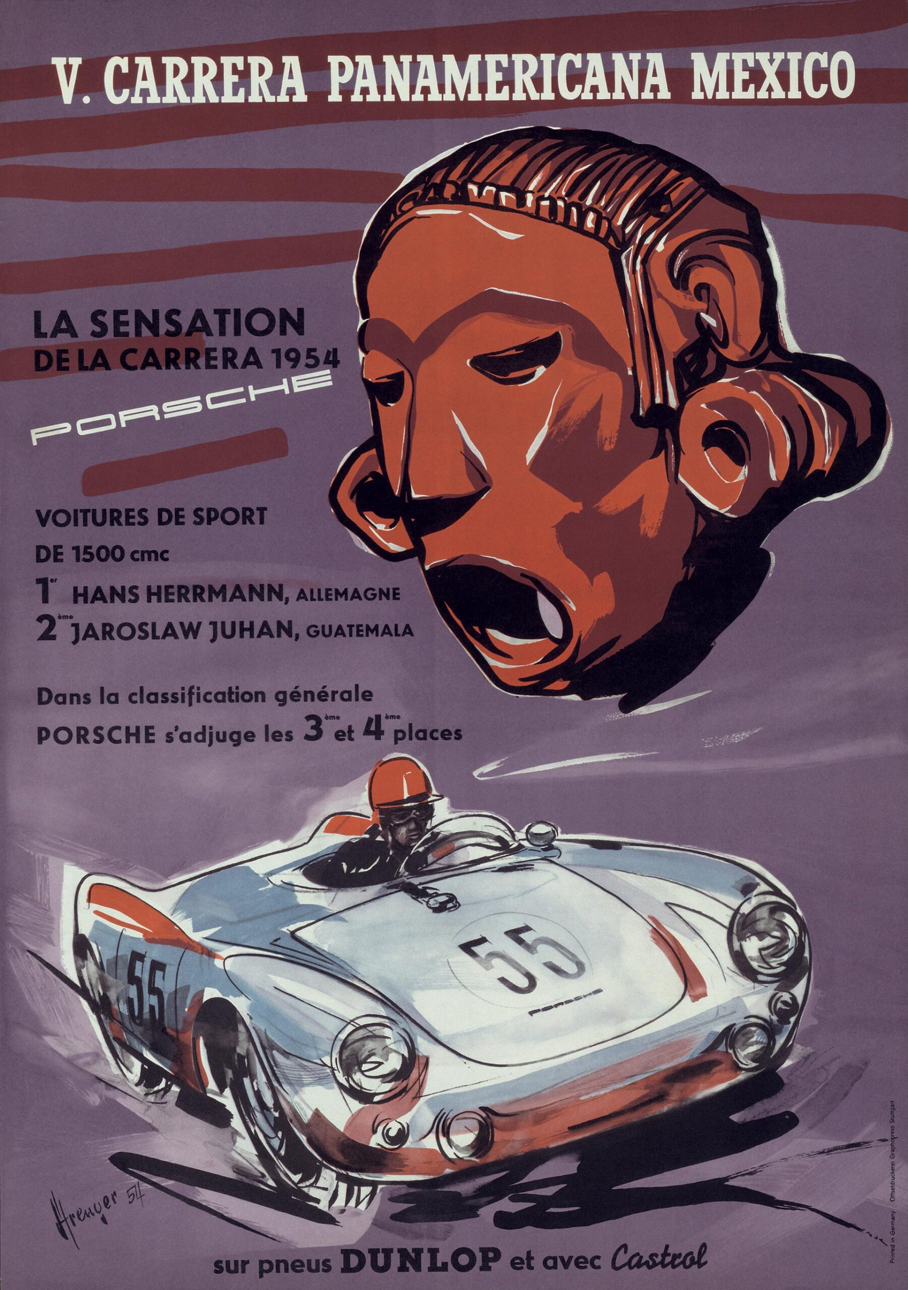 Plakat Porsche Carrera Panamericana 1954